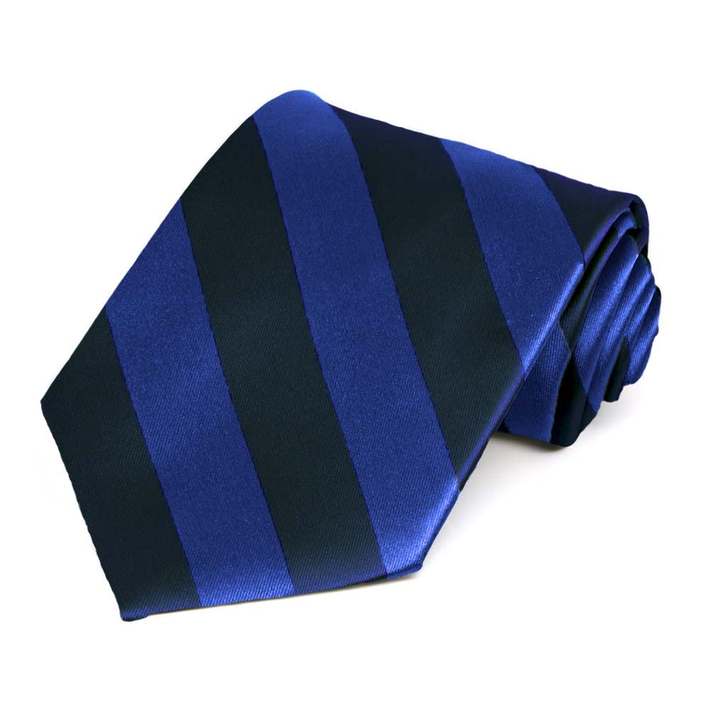 Navy Blue and Royal Blue Striped Tie