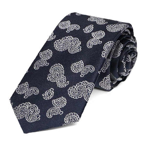 Navy blue paisley pattern rolled slim tie