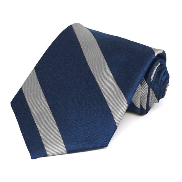 Navy Blue and Gray Striped Cotton/Silk Extra Long Necktie