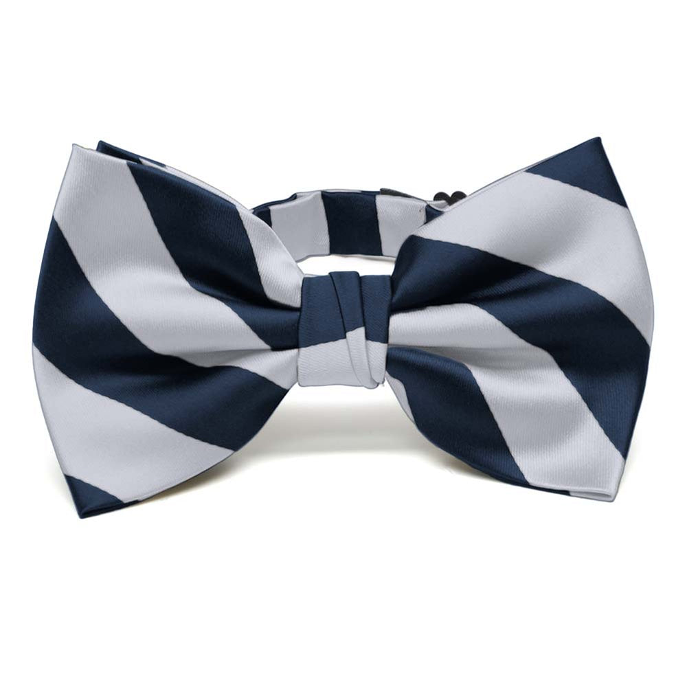 Navy Blue and Silver Striped Bow Tie