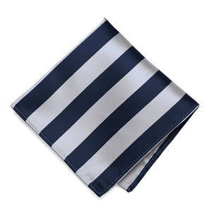 Navy Blue and Silver Striped Pocket Square