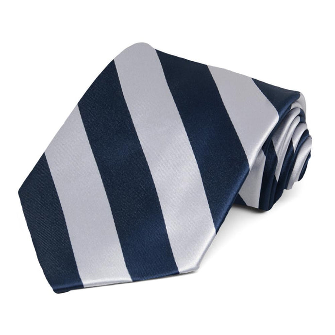 Navy Blue and Silver Striped Tie