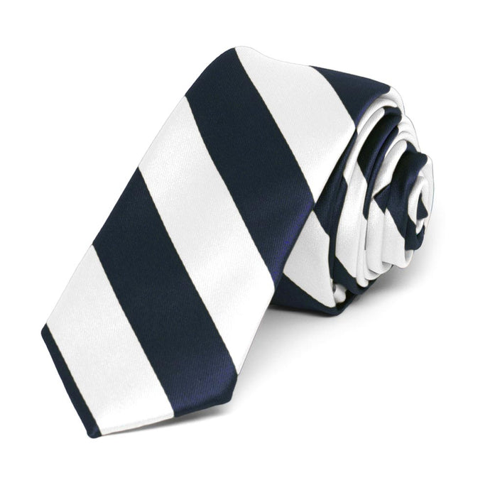 Navy Blue and White Striped Skinny Tie, 2