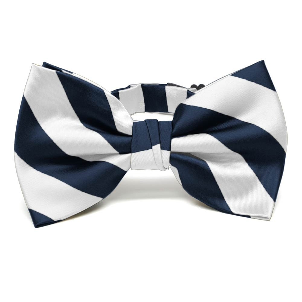 Navy Blue and White Striped Bow Tie