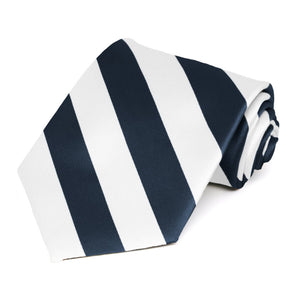 Navy Blue and White Extra Long Striped Tie