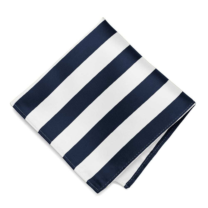 Navy Blue and White Striped Pocket Square