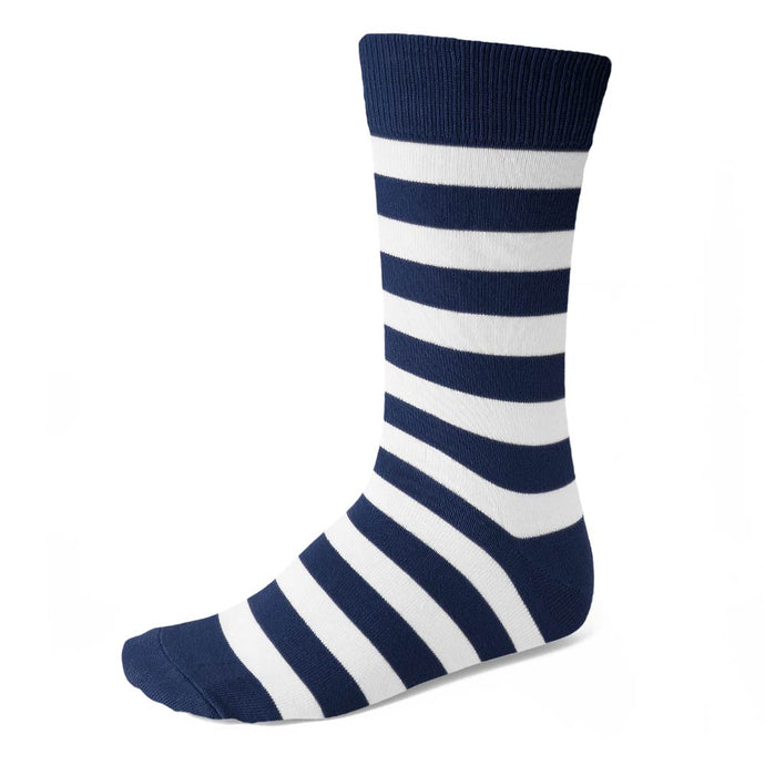 Men's Navy Blue and White Striped Socks