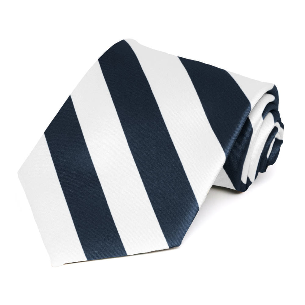 Navy Blue and White Striped Tie