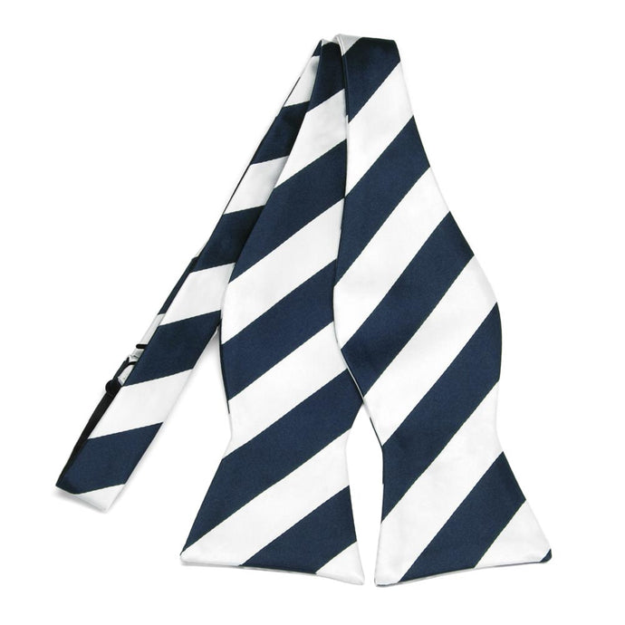 Navy Blue and White Striped Self-Tie Bow Tie