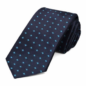 Navy blue rolled dotted pattern slim tie