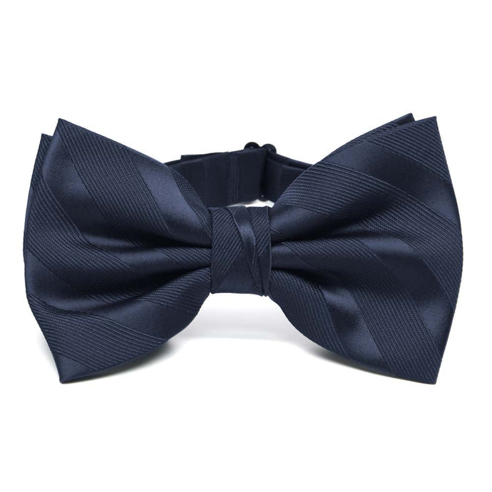 Navy Blue Elite Striped Bow Tie