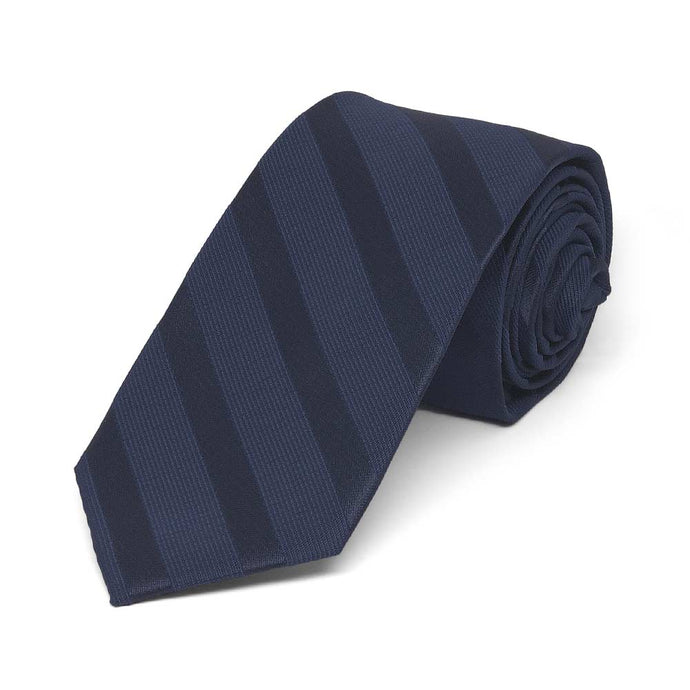 Navy Blue Elite Striped Slim Necktie, 2.5