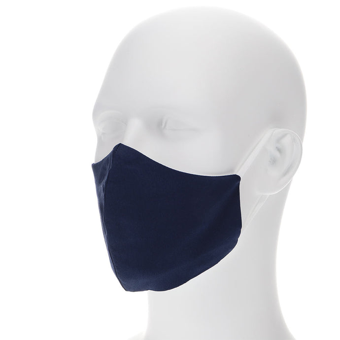 navy blue face mask on a mannequin with filter pocket