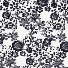 Load image into Gallery viewer, Navy blue and white floral fabric