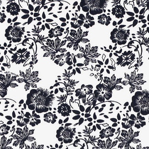 Navy blue and white floral fabric