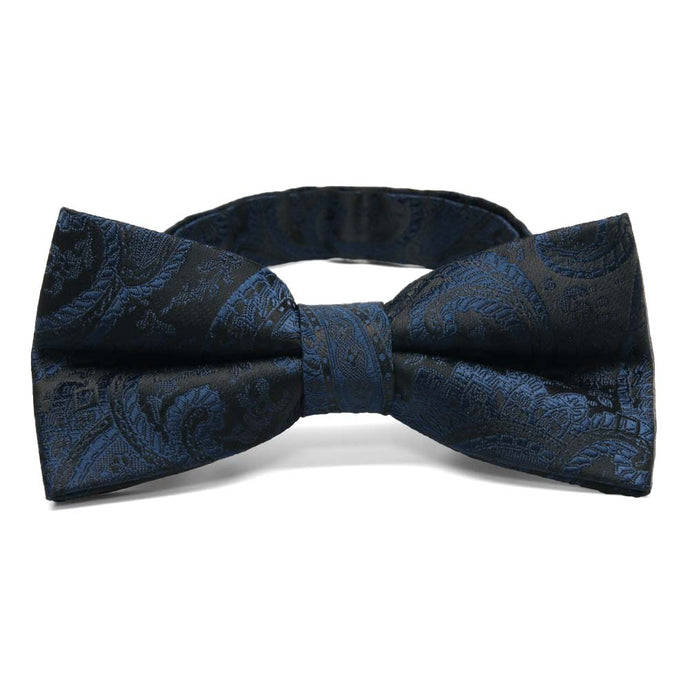 Navy Blue Clara Paisley Band Collar Bow Tie