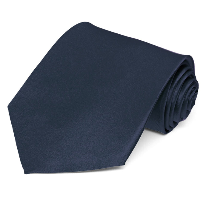 Navy Blue Silk Extra Long Necktie