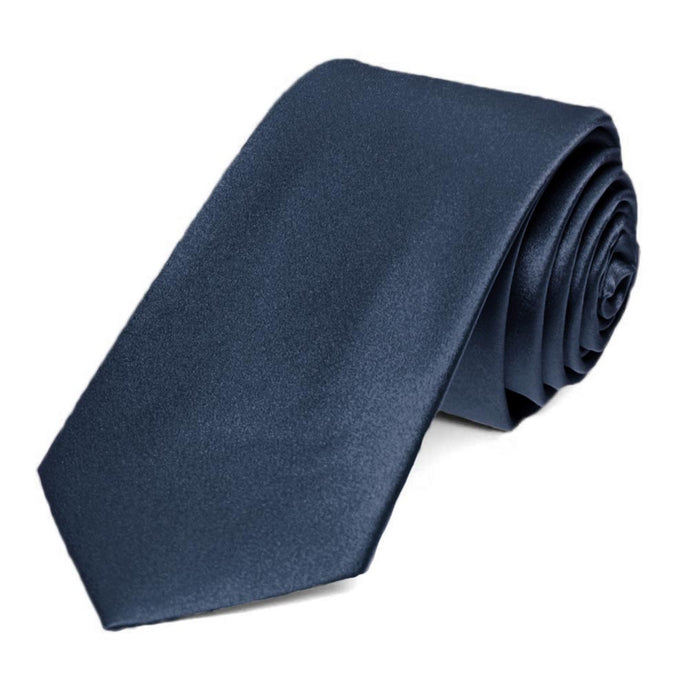 Navy Blue Silk Slim Necktie