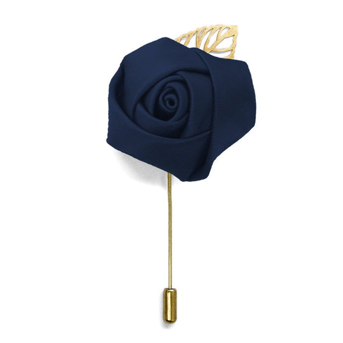 Navy Blue Premium Flower Lapel Pin