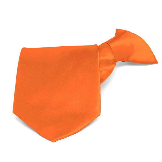 Neon Orange Solid Color Clip-On Tie