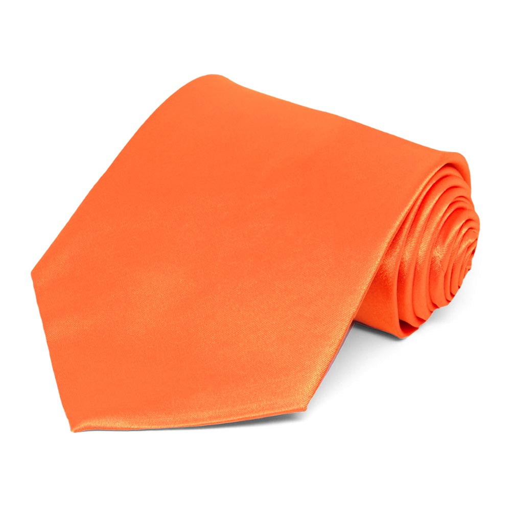 Neon Orange Solid Color Necktie