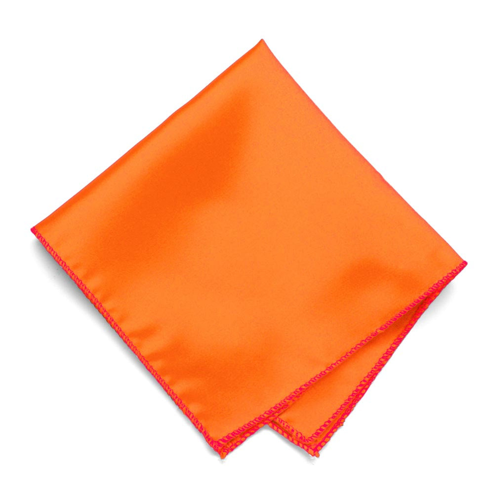 Neon Orange Solid Color Pocket Square