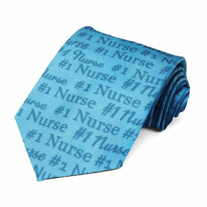 #1 nurse novelty tie in shades of blue