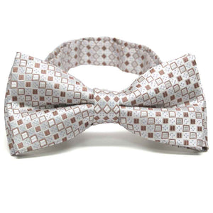 Oatmeal Brown Marie Square Pattern Band Collar Bow Tie