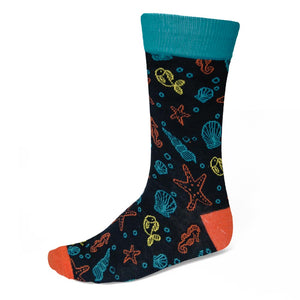 Men's colorful under the sea theme socks on black background