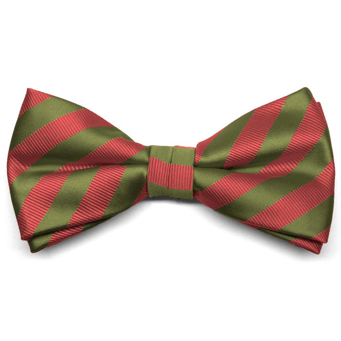 Olive Green and Persimmon Formal Striped Bow Tie