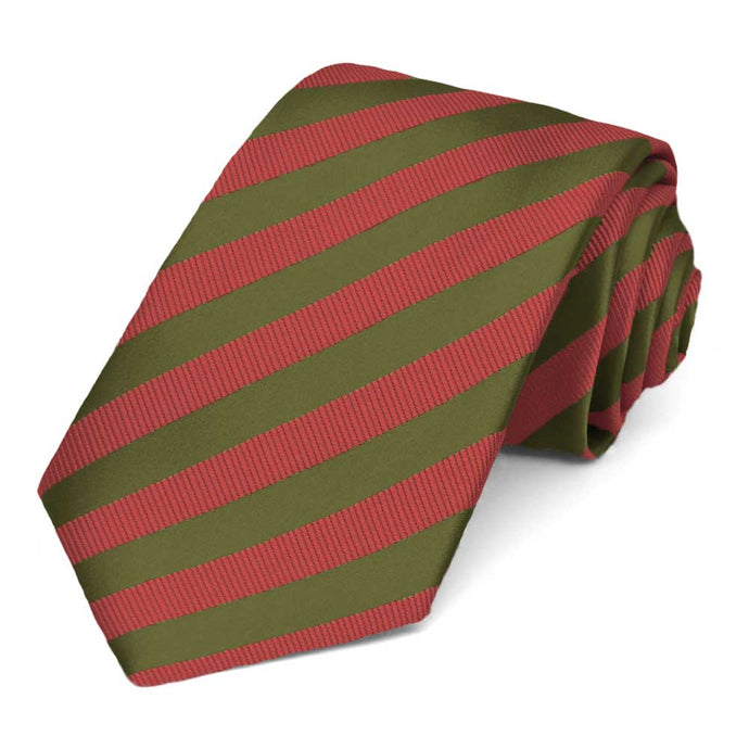 Olive Green and Persimmon Formal Striped Tie