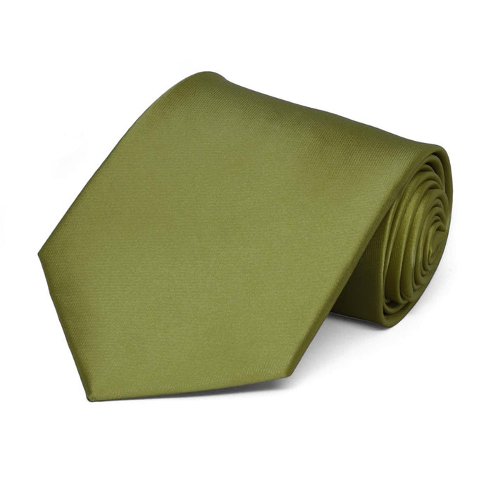 Olive Green Extra Long Solid Color Necktie