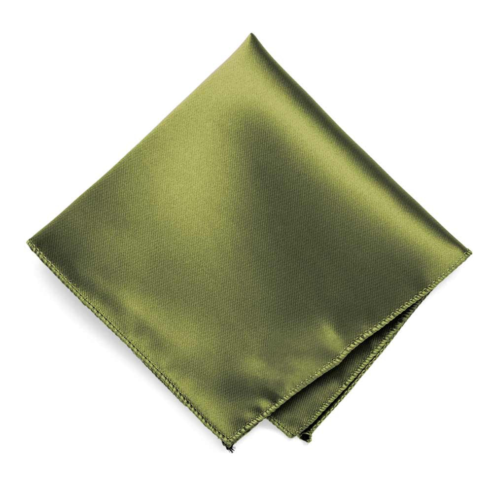 Olive Green Solid Color Pocket Square