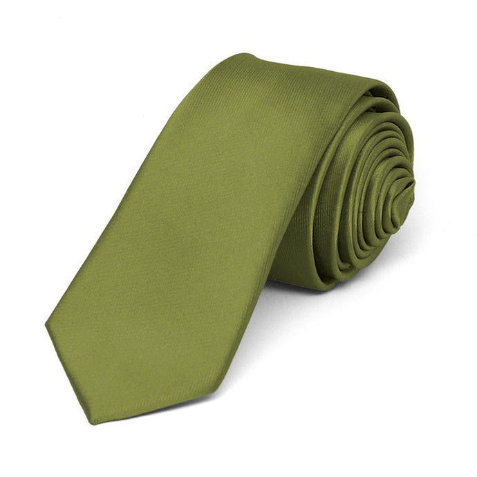 Olive Green Skinny Solid Color Necktie, 2