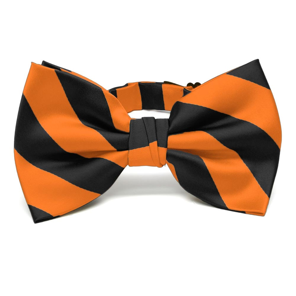 Orange and Black Striped Bow Tie