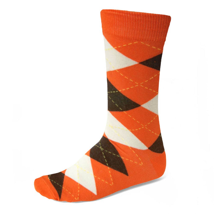 Men's Orange and Brown Argyle Socks