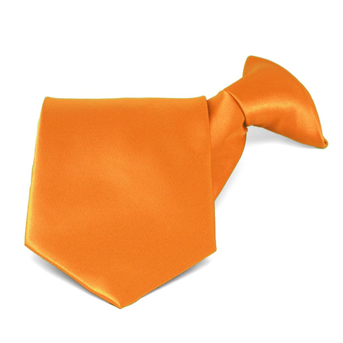 Orange Solid Color Clip-On Tie