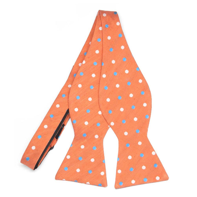 Orange Jester Dot Linen/Silk Self-Tie Bow Tie