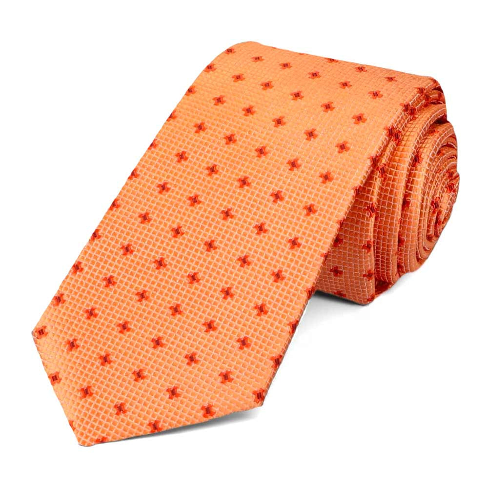 Light Orange Hoffner Dotted Slim Necktie