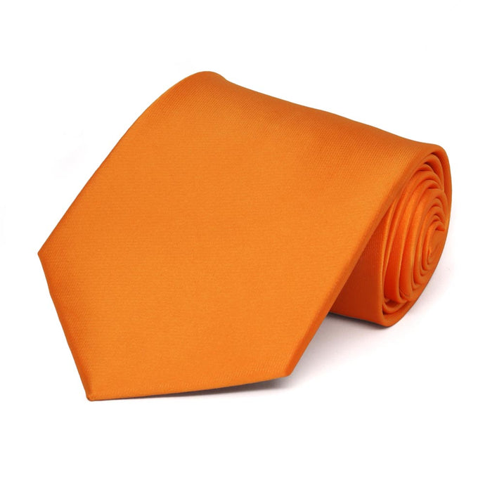 Orange Extra Long Solid Color Necktie