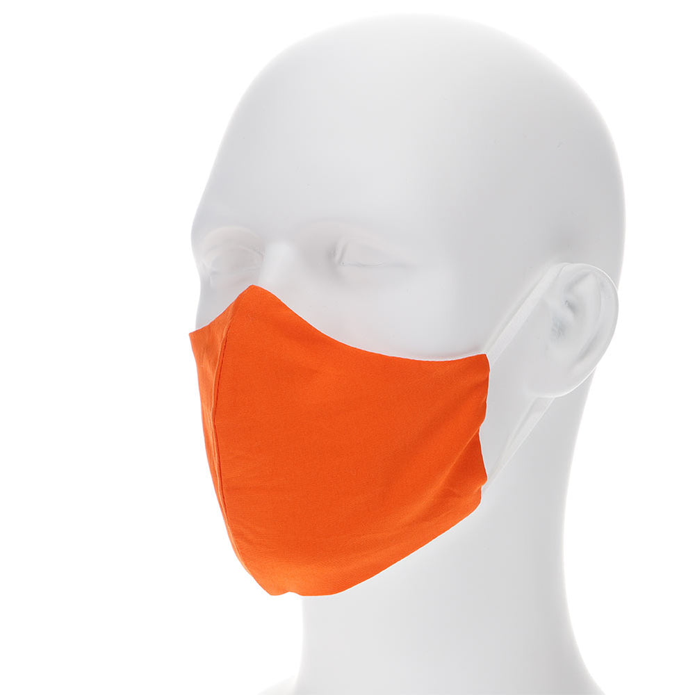Orange face mask on a mannequin with filter pocket