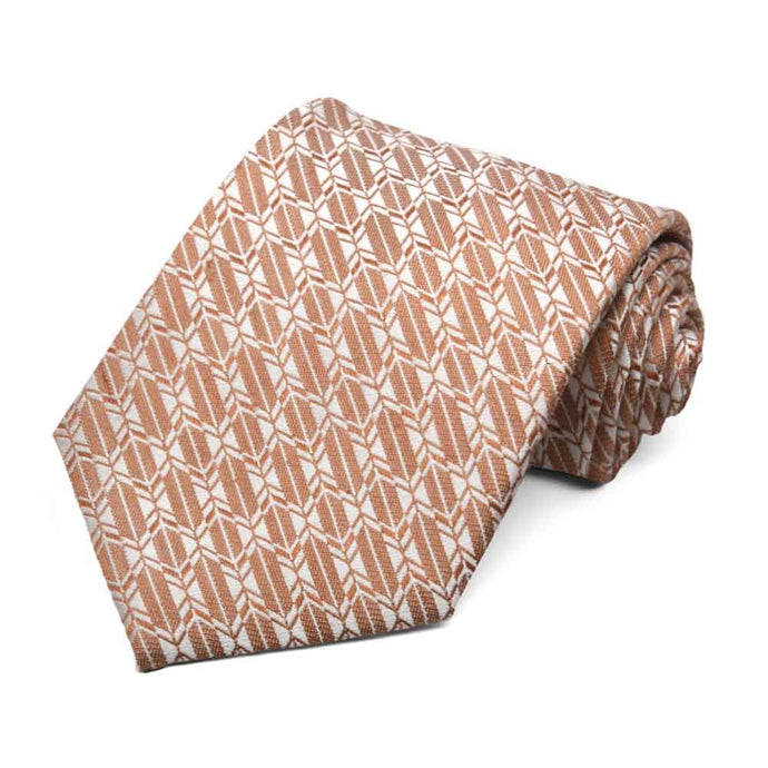 Dark Orange Broker Geometric Linen/Silk Necktie