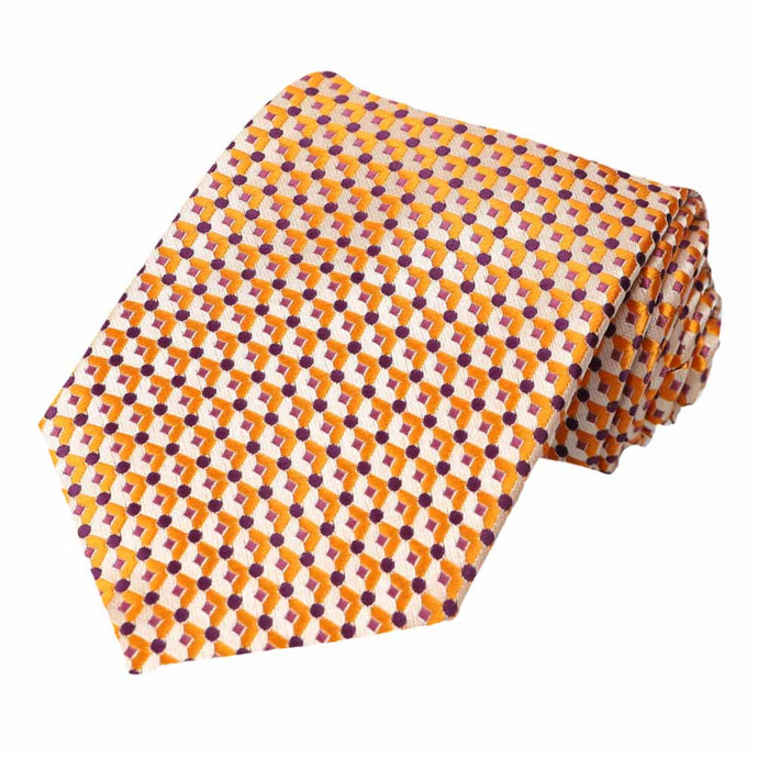 Orange Island Geometric Necktie
