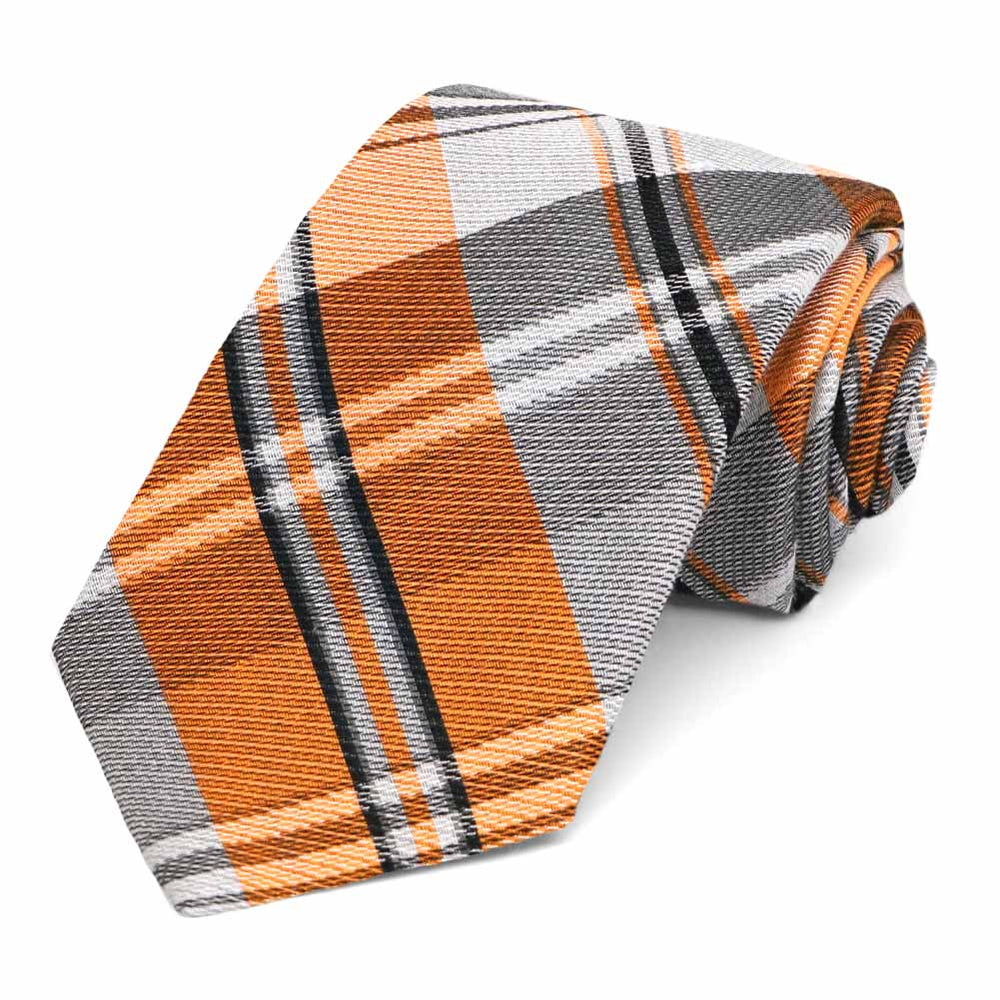 Orange Animator Plaid Silk/Cotton Narrow Necktie, 3