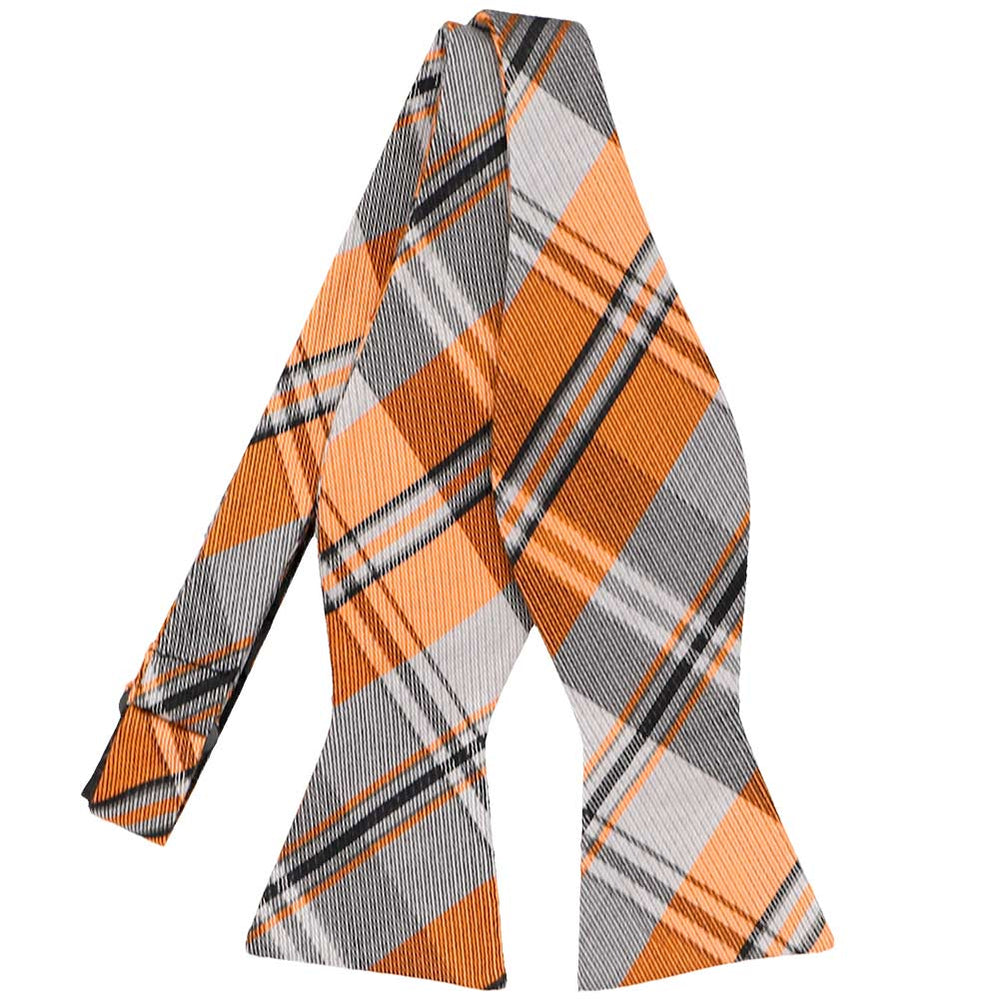 Orange Animator Plaid Silk/Cotton Self-Tie Bow Tie