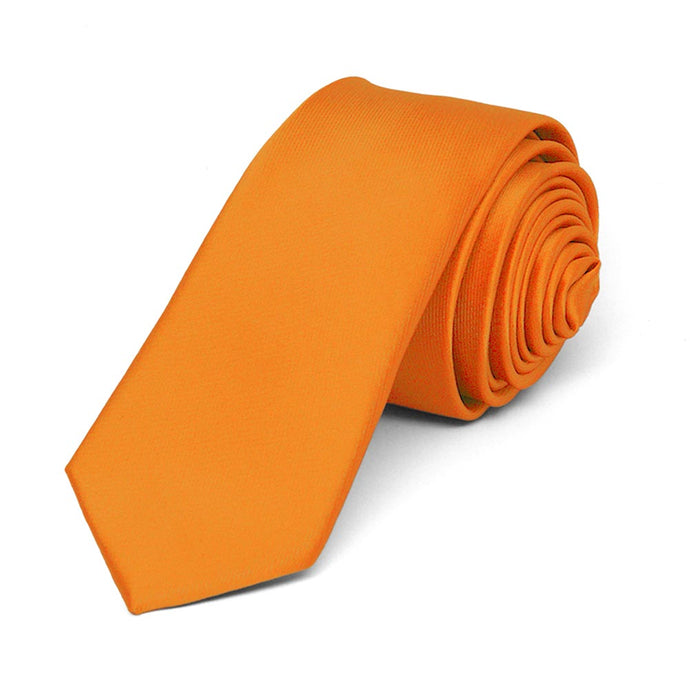 Orange Skinny Solid Color Necktie, 2