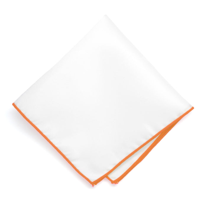 Orange Tipped White Pocket Square