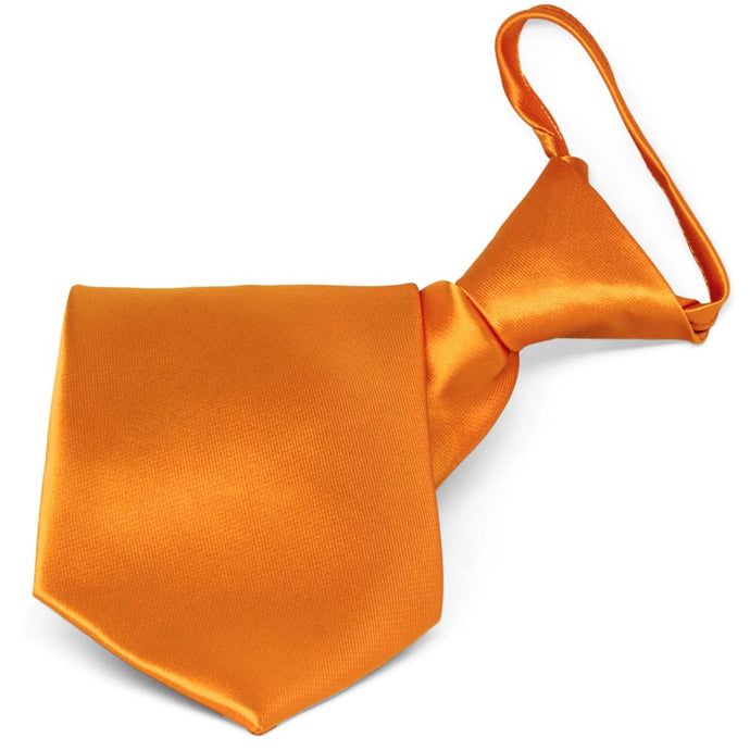 Orange Solid Color Zipper Tie