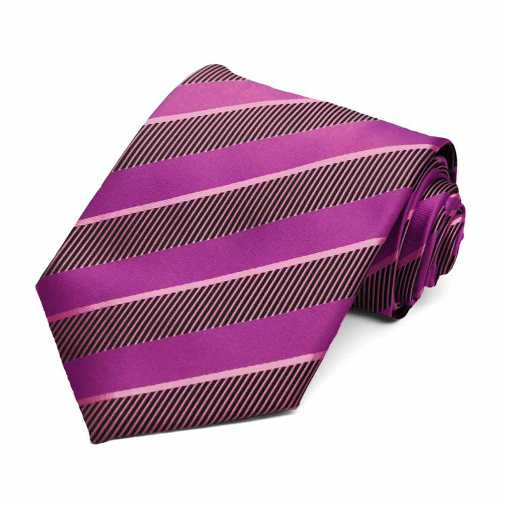 Orchid and Antique Pink Lancer Striped Necktie