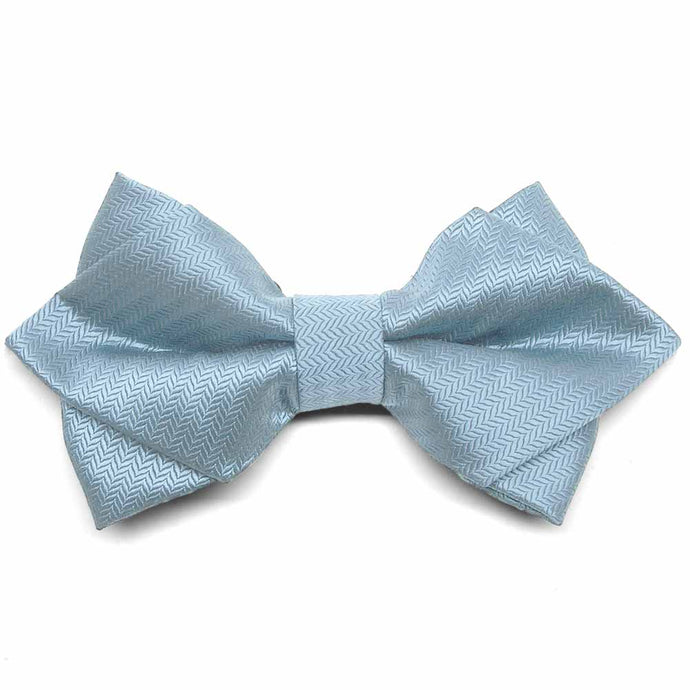 Pale Blue Herringbone Diamond Tip Bow Tie